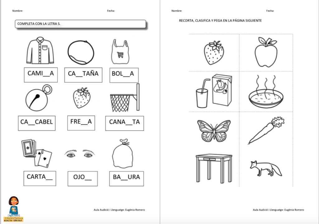 Cuaderno actividades del fonema s maestros de audici n y for L practicas